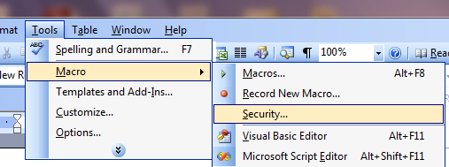 View of Accessing Macro Security Window