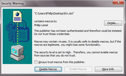 Security Window for Trusting Author
