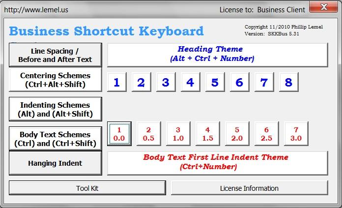Business Shortcut Keyboard