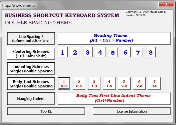 Business Shortcut Keyboard (Double Spacing )