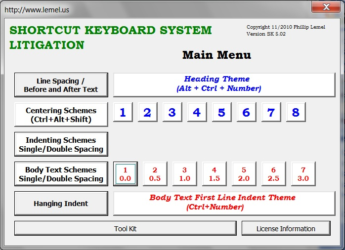 Litigation Shortcut Keyboard